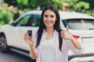 Customer happy loyalty marketing with car dealership